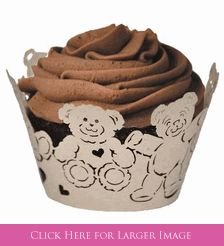 Teddy Bear Baby Shower Cupcake Wrappers for the perfect teddy bear cupcakes - Made in the USA! #teddybearcupcakes #TeddyBearCupcakes