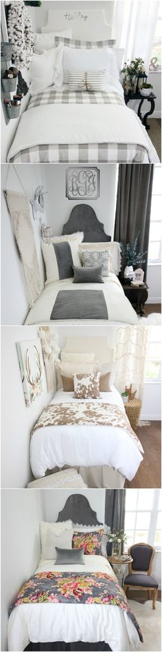 "Decorating a dorm room? Check out Decor 2 Ur Door for tons of college dorm room inspiration - from boho dorm room decor to preppy Lilly dorm rooms. Get the ""Fixer Upper"" farmhouse dorm room look with Magnolia Homes pillows and rugs or take a walk on the wild side with this blush and cheetah print dorm room. There are hundreds of dorm room bedding sets to fit your unique personality and style. We adore these custom-made designer headboards for dorm rooms, extended-length dorm room bed…"