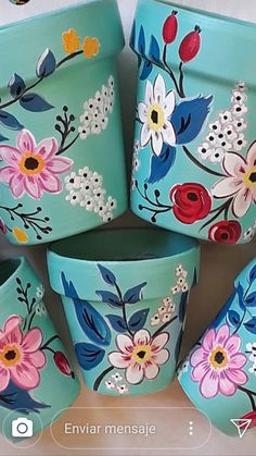 Loving all these colors, perfect for my home! Loving all these colors, perfect for my home! Flower Pot Art, Flower Pot Design, Flower Pot Crafts, Floral Design, Painted Plant Pots, Painted Flower Pots, Painted Pebbles, Hand Painted, Clay Pot Projects
