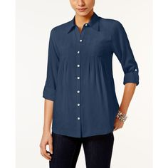 Style & Co. Petite Roll-Tab Shirt, (49 CAD) ❤ liked on Polyvore featuring tops, new uniform blue, shirt top, blue shirt, petite tops, petite shirts and roll tab shirt