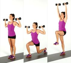 Pin for Later: Incinerate Fat and Build Muscle With This Kickass Workout Reverse Lunge and Press