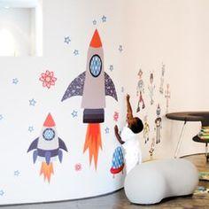 """Vinilo decorativo de tela """"Cohetes Espaciales"""" disponible en bebabe.es"""