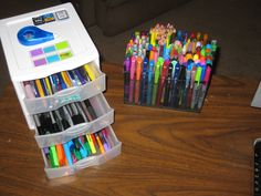 Organizing all my pens, markers, and colored pencils!