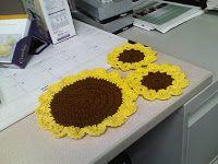 Yarnjeannie's Crochet Cache: Sunflower Dishcloth and Coasters Patterns