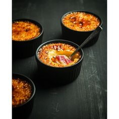 Rhubarb And Rose Creme Brûlée. Get this and 50+ more Rhubarb recipes at https://feedfeed.info/rhubarb