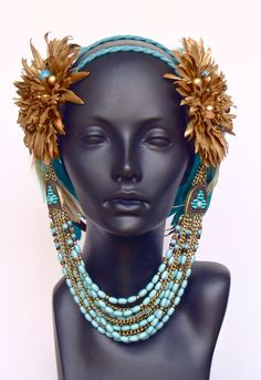 Brown Gold & Blue Feather Headpiece Headdress by MissGDesignsShop