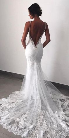 Wonderful Perfect Wedding Dress For The Bride Ideas. Ineffable Perfect Wedding Dress For The Bride Ideas. Backless Lace Wedding Dress, Dream Wedding Dresses, Bridal Dresses, Backless Dresses, Weeding Dresses, Wedding Dress Low Back, Bridesmaid Dresses, Beautiful Wedding Dress, Wedding Dresses Fit And Flare