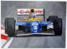 ACEO Original F1 Art Alain Prost Williams by SamsArtyStuff on Etsy, 7.50