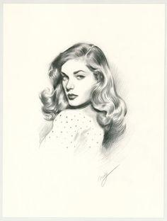 "Maly Siri - Pin-up Art Illustration originale intitulée ""Lauren Bacall"""