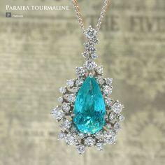パライバトルマリン ネックレス 3.968ct ダイヤモンド1.300ct Pt900(プラチナ)/チェーンPt850 K18PG
