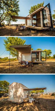 "contemporist: "" This Designer Made Her Own Tiny Vacation Home On Wheels Cute Small Houses, Micro House, Small Places, Small House Design, Tiny House Living, Cabin Homes, Cool Landscapes, House On Wheels, Modern Buildings"