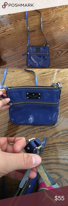 Kate spade crossbody!! Has been well loved but still has a lot of potential left! Beautiful blue color with fun polka dot interior. Crossbody with adjustable length strap. Great for travel! Price negotiable! kate spade Bags Satchels