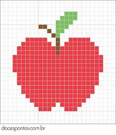 Maçã Cross Stitch Fruit, Tiny Cross Stitch, Cross Stitch Cards, Cross Stitch Designs, Cross Stitching, Cross Stitch Embroidery, Cross Stitch Patterns, Pixel Crochet, Crochet Chart