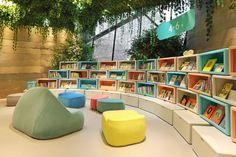 Do-Do-store by Taipei Base Design Center, Shanghai – China Public Library Design, Bookstore Design, School Library Design, Kids Library, Library Architecture, Education Architecture, School Architecture, Architecture Design, Kindergarten Interior