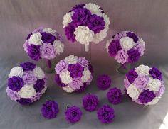 Crepe paper wedding bouquet set