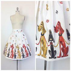 50s Dogs Novelty Print Skirt / 1950s Vintage Border Print Puppys on Leashes Cotton Skirt