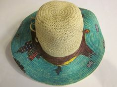 Hand decorated floppy canvas beach hat by HatArt on Etsy, $35.00