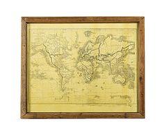 Mappa stampa su tela con cornice in legno Mondo- 56x46 cm