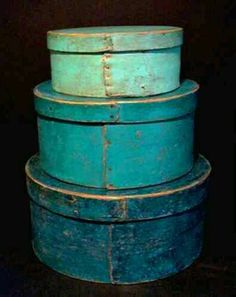 Stack of three blue painted pantry boxes. Deco Turquoise, Bleu Turquoise, Shades Of Turquoise, Shades Of Blue, Aqua, Vintage Turquoise, Old Boxes, Antique Boxes, Primitive Furniture