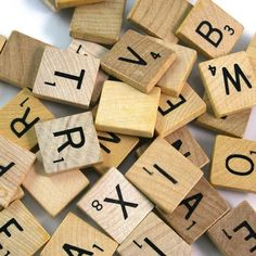 Actual Scrabble game tiles; blonde wood with black letters. All letters available. ~~ Currently OUT of J and K ~~  The letters are 0.35 each and this