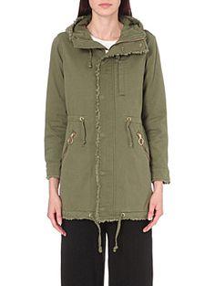 IZZUE Raw edge cotton parka coat