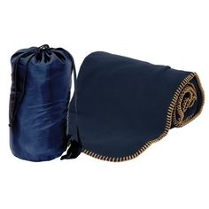 """Fleece blanket in a bag, 50"""" W x 60"""" H (blanket open). 270 gram anti-pilling polar Fleece blanket with beige stitching. 190T Polyester carry tote with adjustable / non-detachable shoulder strap. Carry bag has drawstring closure with a black plastic locking toggle. Keep in the car or use around the home. Also great for picnics and keeping warm when watching sporting events 10.75"""" W x 15.35"""" H x 6.25"""" D (bag). COLD WASH ONLY."""