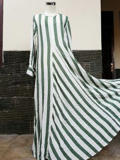 Moslem fashion stripes green white dress for hijaber