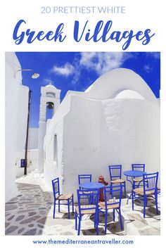 20 Prettiest White Villages in Greece. Here's where to find Greece's iconic Cycladic landscapes with their dazzling white walls, blue domes, pretty chapels and shimmering azure seas. Which Chora is the fairest of them all? The top 20 most charming and beautiful white Greek villages, from Oia and Mykonos to hidden gems like Amorgos and Sikinos. #greece #greekislands #europe #villages #tmtb #travel