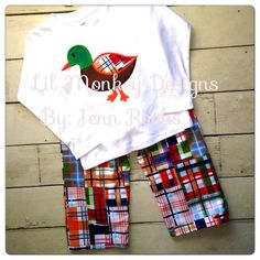 This super adorable madras plaid mallard duck outfit is SO cute on little boys of all ages! A Monag brand tshirt will be used for this