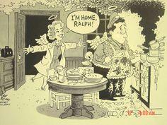 """The Honeymooners"" RARE Jackie Gleason Audrey Meadows Cartoon Bob Englehart 1996"