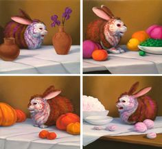 """UNTITLED DOMESTIC SCENES (SPRING, SUMMER, AUTUMN, WINTER), Laurie Hogin. Oil on Panel, 5 3/4 x 6 1/4"""" each"""