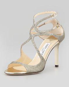 408174e7d4f Jimmy Choo - Ivette Glitter Fabric Crisscross Sandal Large Size Shoes