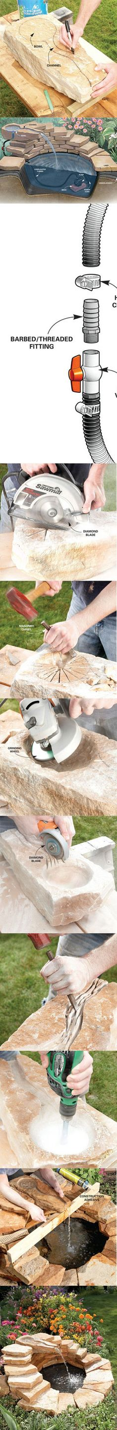 Aprenda a construir una fuente de hormigón en www.familyhandyma ...------------------------------------Learn how to build a concrete fountain at http://www.familyhandyman.com/DIY-Projects/Outdoor-Projects/Water-Features/Fountains/fountain-how-to-build-a-concrete-fountain/View-All