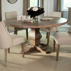 Features: -Florence collection. -Chairs are not included. Distressed: -Yes. Top Finish: -Light Brown. Top Material: -Wood. Base Finish: -Light Brown. Dimensions: -Floor to underside of table to