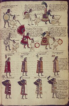 Image description: The first two rows depict six stages in the career of a successful priest-warrior (calmecac), similarly earned through captives and marked by gradations of costume and equipment. The priest-warriors are distinguished from the others by their blood-smears and hairstyles.The Bodleian Library Medieval and Renaissance Manuscripts