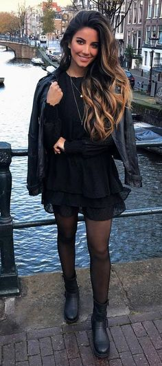black on black | moto jacket + little black dress + boots