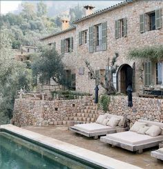 Mediterranean villa terrace and pool. BELLE VIVIR: Interior Design Blog | Lifestyle | Home Decor: Alexandre de Betak's Amazing Majorca Home