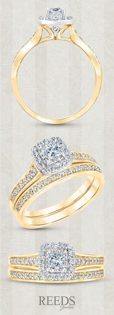 Princess Diamond Halo Yellow Gold Bridal Set