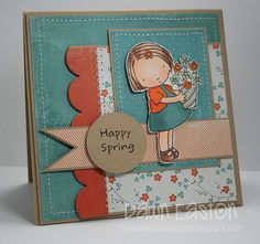 "Adorable Pure Innocence ""Happy Spring"" card created by Dawn Easton."