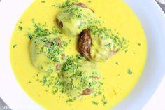 Rezepte mit Herz   ♥: Mandel - Hackbällchen in Curry - Sahne - Sauce & R...