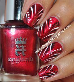 england perceval freehand nail art acrylic paint nail art red nails