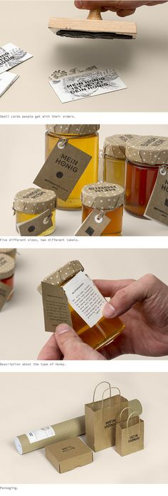 """Brand Identity by Thomas Lichtblau.My Honey (""""Mein Honig"""") comprises various exclusive sorts of honey, all carefully harvested and traditionally pressed on sunny hills of Upper Austria. Our bees do not only gather premium honey; they also help preserve …"""