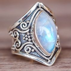 925 Sterling Silver Natural Gemstone Marquise Moonstone Vintage Ring Wedding Engagement Jewelry Size 6 - 10