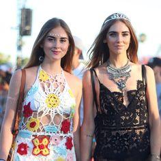 Chiara Ferragni at Coachella 2016. Black lace dress and tiara!