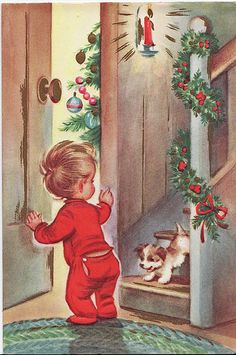 Vintage Chrismas Card...Peeking  | Flickr - Photo Sharing!