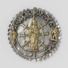 A badge, probably from a militia company, c. 1450 - c. 1499. The Virgin as the Lady of Seven Sorrows (pierced by swords), with Saint James and Saint Christopher on the left and right edges.