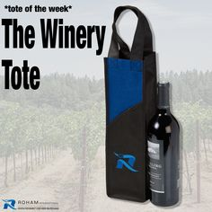 #RohamInt #ToteoftheWeek– The Winery Tote!  The Winery Tote is a stylish looking single bottle tote is sure to turn heads and get your brand noticed. This would be perfect for your special clients, staff events, or for any promotional event that you want to make a statement at.
