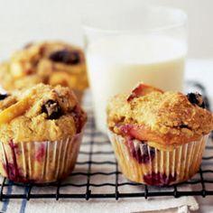 Blueberry peach and soured cream muffins www.dessertsmagazine.com