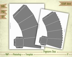 Popcorn Box Digital Collage Sheet Layered Template T017