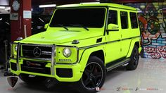 ProFoil Gives #MercedesBenz G63 #AMG A Neon Yellow-Colored Wrap http://www.benzinsider.com/2015/01/profoil-gives-mercedes-benz-g63-amg-neon-yellow-color-wrap/